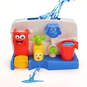 MOSSI ミニ浴室玩具セット 入浴おもちゃ お風呂用 水遊び ミニ水車 蛇口 噴水 象 知育玩具 smile-box