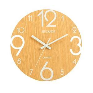 BECANOE 掛け時計 ウオールクロック 木製 サイレント 連続秒針 夜光 大文字 アナログ クロック インテリア|smile-box