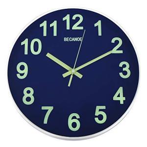 BECANOE 壁掛け時計 夜光 連続秒針 サイレント ウォールクロック 掛け時計 インテリア サファイアブルー|smile-box
