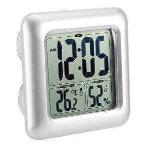 防水時計 デジタル温湿度計 シャワー時計 大画面 液晶 吸盤 壁掛け スタンド 置き時計 防水クロック 温度計 湿|smile-box