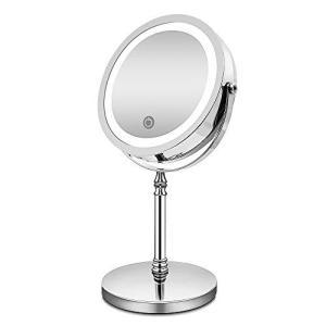 化粧鏡 10倍 拡大鏡 付き led ミラー LED 両面 鏡 卓上 スタンドミラー メイク 3 WAY給電 曇らないミラー 360度回転 smile-box