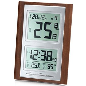 ADESSO(アデッソ) 目覚まし時計 日めくり 電波時計 六曜 温度 湿度 日付表示 記念日設定機能付き 置き掛け兼用 ブ|smile-box