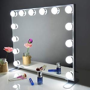 Wonstart 女優ミラー 化粧鏡 ハリウッドスタイル 14個LED電球付き 暖色・寒色 2色ライトモード 明るさ調節可能 女 smile-box