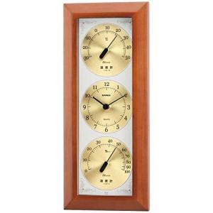 エンペックス気象計 温度湿度計 ウェザータイム 壁掛け用 日本製 ブラウン TM-726|smile-box
