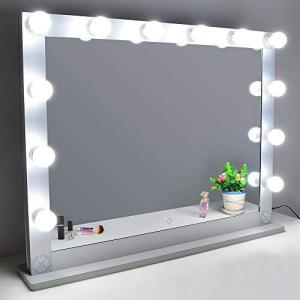 Nitin 女優ミラー 大型化粧鏡 ハリウッドミラー 12個LED電球付き 無段階調光 スタンド付き USB差込口付き 卓上ミラ smile-box