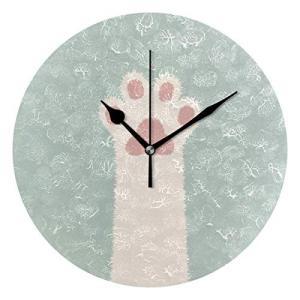 Akiraki 掛け時計 置き時計 サイレント 木製 連続秒針 壁掛け時計 時計 インテリア 北欧 猫 猫柄 猫爪 可愛い かわ|smile-box