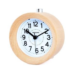 FIBISONIC 目覚まし時計 アナログ 大音量 置き時計 連続秒針 音無し アラーム スヌーズ 照明ライト付き 木製 電池式|smile-box