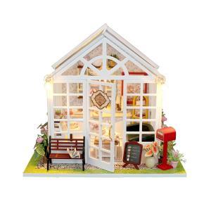 moin moin ドールハウス ミニチュア 手作りキット セット 全面ガラスのケーキ屋さん カフェ シャペル LEDライト + smile-box