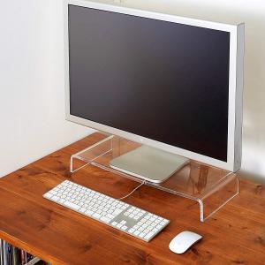 パソコンモニター台 PCモニター台 机上台 アクリル製 キーボード収納 透明 卓上台 モニターデスク台 smile-box