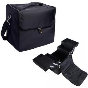 [プロ仕様]Hapilife メイクボックス トレイ付き プロ用 化粧品収納 ブラック smile-box