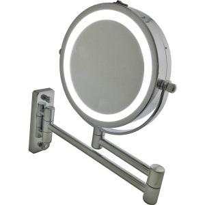 LED化粧鏡 ライト付き 電池 5倍拡大鏡+等倍鏡 両面鏡 壁掛けミラー 360度回転 ホーム、スパ、ホテル用洋式アームミラー smile-box