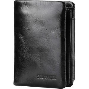 [コンタクトズ] Contacts メンズ本革財布三つ折りレザーカードケース 財布短財布
