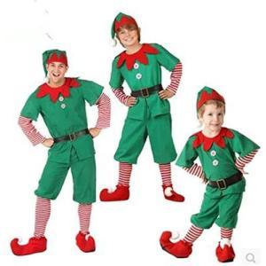 サンタ コスプレ衣装 コスチューム 子供 大人 グリーン キッズ 男の子 女の子 帽子付き 着ぐるみ クリスマス 仮装 (男の子 160cm)|smile-box