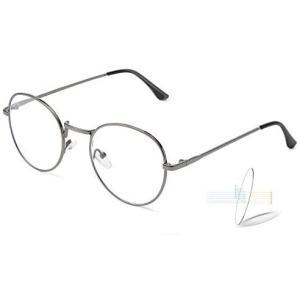超軽量 ブルーライトカット メガネ 伊達メガネ メンズ 丸メガネ眼鏡 だてめがね メンズ レディース UV (グレー Free Size) smile-box