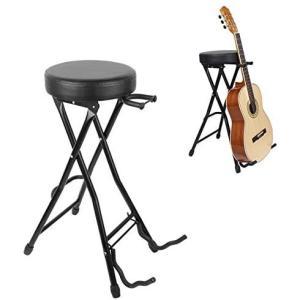 UNHO ギタースタンド 椅子 折りたたみ式 ギター弾き語りチェア エレキ・アコギ練習用パイプ椅子 演奏用のスローン ギター立て smile-box