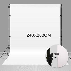 Negeek 240X300cm耐久性のあるポリエステル生地ホワイトポートレートモスリン写真撮影の背景写真スタジオブースの小道具 (2.4x3m)|smile-box