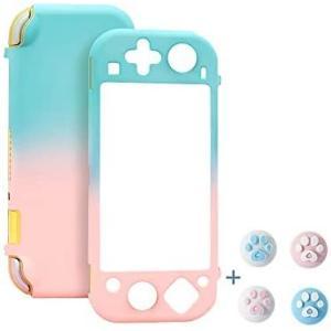 Switch カバー スイッチライトケース 薄型 親指キャップ スイッチライトカバー 指紋防止 ケース (ピンク-グリーン) smile-box