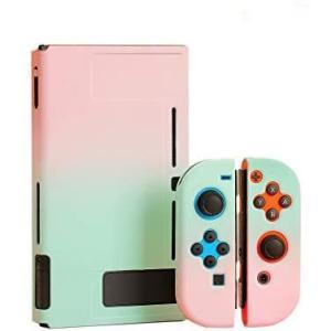 スイッチ ケース 分体式 Nintendo Switch カバー 薄型 Joy-Con用 親指キャップ (ピンクーグリーン セット) smile-box