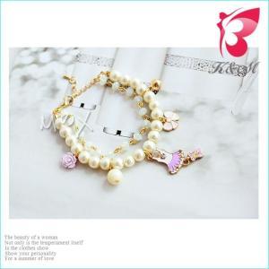 ブレスレット パール リボン 花 ワンピース 可愛い 二重チェーン|smile-hb