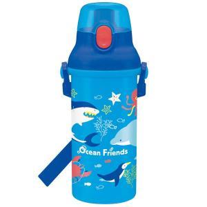 食洗機対応 直飲み プラワンタッチボトル 480ml オーシャンフレンズ / プッシュ式 スポーツボトル 子供用 水筒 軽量 遠足 ショルダーベルト イルカ サメ|smile-hg