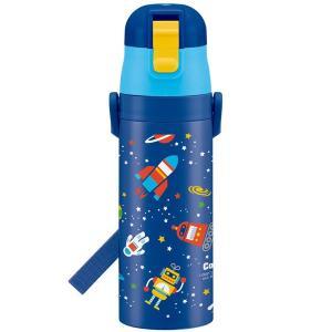 超軽量 ロック付 ワンプッシュ ダイレクト ステンレス ボトル 470ml コスミックスター Cosmic Star / コズミック 子供用 水筒 軽い 軽量 保冷 直飲み ベルト|smile-hg