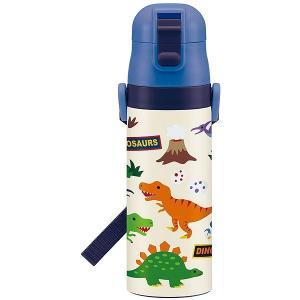 子供用 水筒 /  超軽量 ロック付 ワンプッシュダイレクト ステンレスボトル 470ml ディノサウルス|smile-hg