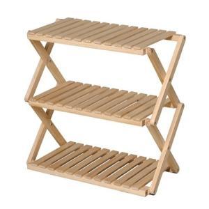 コーナン オリジナル コーナンラック 折り畳み式木製ラック3段 ワイドタイプ(約幅60X奥行30X高...