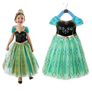 お姫様 アナ 風 エルサ 風 ドレス プリンセスドレス 子供ドレス 雪の女王風 雪風 ドレス フロー...