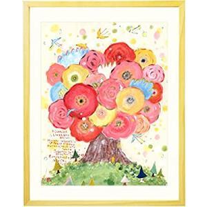 絵画 インテリア 絵 花 アート「咲きつづく日々」 額入りM(395×305mm) 玄関 風水 花の絵 北欧 可愛い リビング アートポスター 壁掛け smilefield
