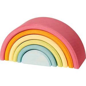 グリムGRIMM'S 玩具 おもちゃ 知育玩具 積み木 インテリア 見立て遊び 虹 レインボー 高さ9×幅17×奥行6.5cm 虹色ト?|smilefield