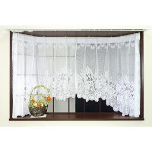 かーてん屋さんアウトレット 出窓用カーテン おしゃれな花柄 [ローズ] 幅195cm 丈85cm 1枚 ホワイト|smilefield