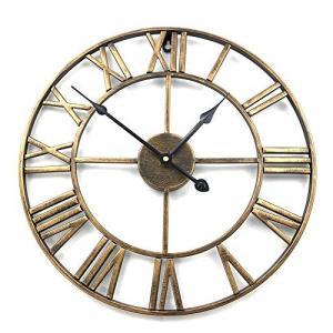 アイアンフレーム 壁掛け時計 ゴールド アンティーク 雑貨 アンティークデザイン アメリカンクロック ウォー? smilefield