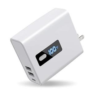 【2in1】 USB急速充電器 モバイルバッテリー 6700mAh 大容量 ACアダプター 折りたたみ式プラグ搭載 2USB出力ポート ?|smilefield