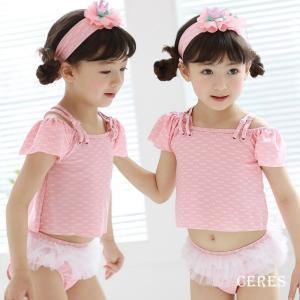 子供水着 女の子 レース フリル 可愛い 韓国水着 上下セット|smilegirls