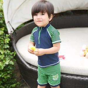 子供水着 男 キャップ付き 上下セット スイムスーツ 3点セット UV対策 カニ|smilegirls