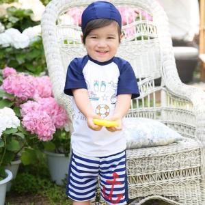 子供水着 男 キャップ付き 上下セット スイムスーツ 3点セット UV対策|smilegirls