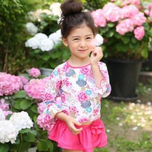 子供水着 女の子 キャップ付き 花柄 セパレート 上下セット セットアップ 長袖 キッズ|smilegirls