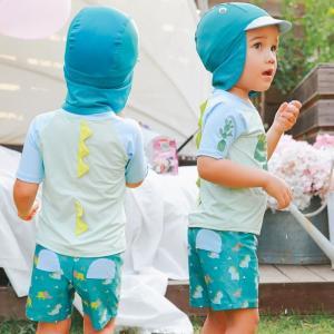 子供水着 男 キャップ付き 上下セット スイムスーツ 3点セット UV対策 恐竜柄|smilegirls