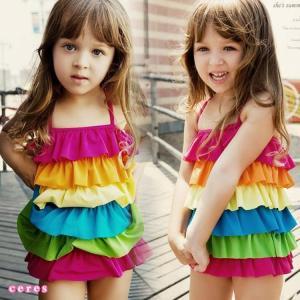 子供水着 ワンピース 女の子 フリル カラフル キッズ 水着 可愛い|smilegirls