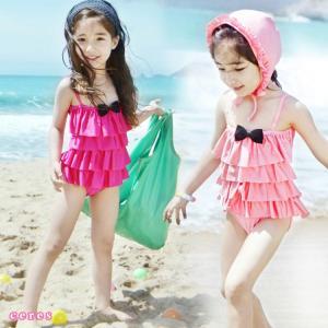 子供水着 女の子 ワンピース 韓国水着 キッズ 二点セット キャップ付き 帽子セット フリル|smilegirls