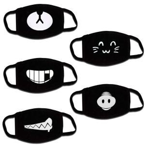 Coolha 可愛いカートゥーンマスク男女両用おしゃれな黒い個性フアッション猫顔マスク5枚入
