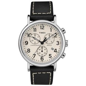 Timex Men's TW2R42800 Weekender Chrono Black/Cream Leather Strap Watch|smilehometen