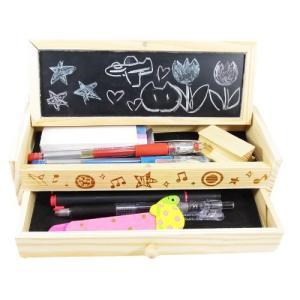 ウッディー ペンケース 黒板付き 引き出し 2段 木製 筆箱 【定規ブックマーク付き】木目がお洒落|smilehometen