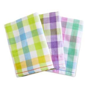 【軽くて 乾きやすい】 綿 100% 表ガーゼ 裏パイル バスタオル 3色組 チェック柄(60×12...