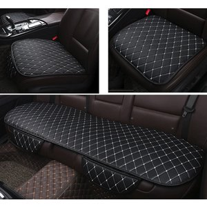 world Imp Motor 車用 前後座 3枚組 PUレザー カーシート カバー セット 簡単設置 前座席用2枚+後部座席用1枚 通気性 竹炭 (|smilehometen