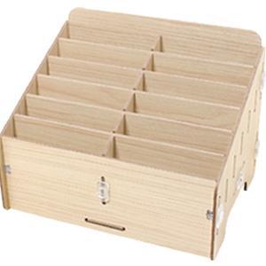 Umora 収納ボックス 多機能 携帯電話 収納ポケット オフィス用 教室用 木製 便利(12つの仕切り)|smilehometen