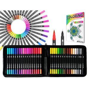 カラー筆ペン 水彩毛筆 アートブラシペン 36色セット キャンバスケース付き デュアルチップ 両端ペン先 柔らかい筆先 1〜4mm太字 0.4mm細字|smilehometen