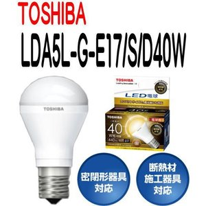 LED電球 東芝 E17口金 電球色 ミニクリプトン形 広配光タイプ 小形電球40W形相当 LDA5L-G-E17/S/D40W 【LDA5LGE17SD40W】|smilelight