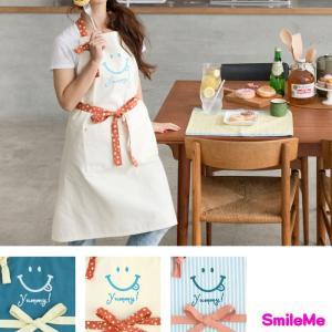エプロン おしゃれ レディース スマイル ニコちゃん キッチン おすすめ かわいい 人気 笑顔 キッチン用品 ママ 料理 習い事 保育士 お母さん 大人 子ども|smileme