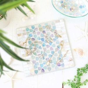 モザイクプレート シェルフラワー アクセサリー インテリア ガラス おしゃれ キレイ 天板 飾り テーブル 棚 模様替え かわいい プレート アクセ ピアス|smileme
